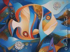 """Купить Батик """"Рыбка питерская"""" - батик, ручная роспись, авторская работа, шелк, handmade, batik"""