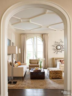 Don t Forget Your Living Room s Fifth Wall The Ceiling Don t Forget Your Living Room s Fifth Wall The Ceiling Julia Gessner Farm house ideas The term coffered ceiling often connotes nbsp hellip coffered Ceiling False Ceiling Living Room, Ceiling Design Living Room, False Ceiling Design, Living Room Designs, Living Room Decor, Dining Room, Plaster Ceiling Design, Ceiling Trim, Ceiling Detail