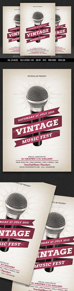 Vintage Music Fest Flyer Template PSD. Download here: http://graphicriver.net/item/vintage-music-fest-flyer/15915047?ref=ksioks