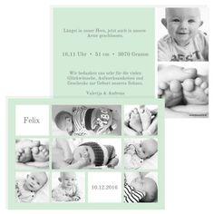 Viel Raum für Deine Fotos. Auf der kreativen Geburtskarte oder Dankeskarte für Babys findest Du genau das. ClassyCards.de gestaltet Deine persöndliche Karte. #classycards #geburtskarten #babykarten #dankeskarten #baby #geburt Designs, Babys, Photos, Baby Delivery, Thanks Card, Postcards, Babies, Baby, Newborn Babies