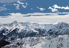 Mayrhofen Austria snowy mountains art print by NatAttackArt, £40.00