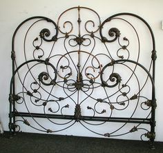 Fancy Scrolled Victorian we converted to King Size. circa 1845 #ironbeds #antiqueironbeds
