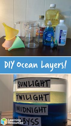 Learn about the layers of the ocean with this colorful and fun DIY Ocean Layers in a Jar! Science Week, Science Activities For Kids, Preschool Science, Science Experiments Kids, Science Fair, Science Projects For Preschoolers, Preschool Bulletin, Montessori Preschool, Vocabulary Activities