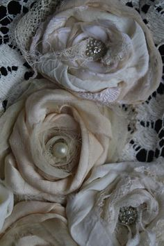 fabric roses Lace and Fabric Fabric Embellishment, Embellishments, Diy Ribbon, Ribbon Crafts, Material Flowers, Fabric Crafts, Burlap Crafts, Fabric Roses, Silk Ribbon Embroidery