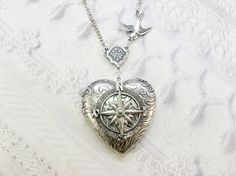 Silver Compass Locket - The ORIGINAL Silver Locket Necklace - Follow Your Heart COMPASS - Valentine's Day Wedding Birthday Bridesmaid Gift