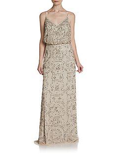 Beaded Chiffon Blouson Gown Adrianna Papell  0491687700428
