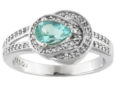 .60ct Pear Shape Blue Apatite With .29ctw Round White Topaz Sterling Silver Ring