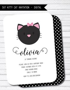Kitty Cat Birthday Party Printable Digital por twinklelittleparty