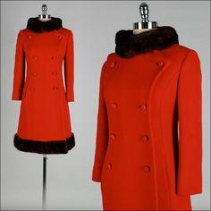 Vintage 1960s Coat . Red Wool . Princess . Mink Fur Collar . Pockets . S . 1482. $345.00, via Etsy.