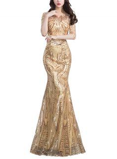 Women's Sequin Round Neck Half Sleeve Mermaid Evening Dress novashe.com