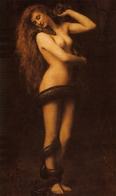 Lilith was according to myth the first wife of Adam - but she claimed equal status with man so was demonised. It is thought she was a relic of the old female snake goddesses of pre-Christian religion