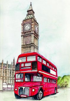 London Bus And Big Ben Painting  - London Bus And Big Ben Fine Art Print
