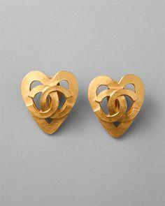 Chanel Vintage 1995 CC Heart Clip-On Earrings