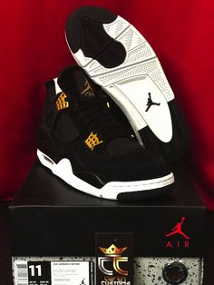 NEW Nike Air Jordan 4 IV Retro  Royalty  Black Gold (308497 032) in US Size  11  Nike  AthleticSneakers 466be5c06