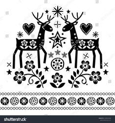 Christmas vector design with reindeer, flowers, Scandinavian folk art pattern in black on white background - Merry Christmas decoration. Cute Scandinavian style retro greeting card illustration #Ad , #Affiliate, #folk#Scandinavian#art#black