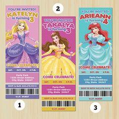 Princess Birthday Ticket Invitation, Birthday Invitation, Printable | partytimedecor - Cards on ArtFire