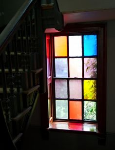 Marianna-Kennedy-Spitalfields-house-stair-colored-glass- We have three windows similar to this in our home, original. Ideas Cabaña, House Stairs, Color Tile, Window Design, Stained Glass Windows, Windows And Doors, Colored Glass, Architecture Design, Sustainable Architecture