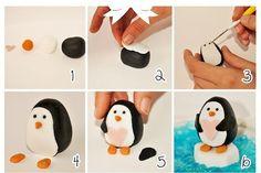 Tutorial for fondant penguin Penguin Cakes, Clay Birds, Fondant Animals, Polymer Clay Animals, Fondant Tutorial, Diy Tutorial, Fondant Decorations, Sugar Craft, Cake Decorating Tips