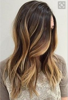 medium length straight brunette ombre hair