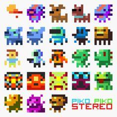 Piko Piko Stereo, by Azureflux Pixel Drawing, Doodle Art Drawing, Cool Pixel Art, Perler Bead Disney, Pixel Characters, 8 Bit Art, Pixel Animation, Pixel Art Games, Pixel Pattern