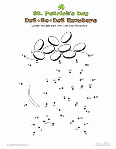 St. Patrick's Day Kindergarten Dot-to-Dots Counting & Numbers Worksheets: St. Patrick's Day Dot-to-Dot 3