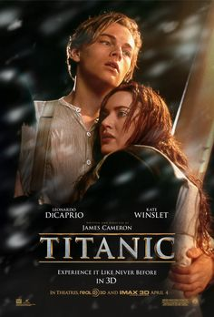 Experience it like never before in 3D and IMAX.  Titanic - In 2D Theaters, Real D 3D and IMAX 3D Now Playing For a Limited Time Only.