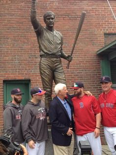Carl Yastrzemski along with current Red Sox at the revealing of his statue at Fenway Park. 9/22/2013