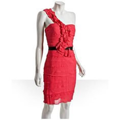 BCBGMAXAZRIA dress Absolutely adorable dress! Perfect guest dress for the upcoming summer wedding season! Red, tiered chiffon, one shoulder with sweetheart neckline, ruffle trimmed shoulder strap, and sateen lining with built-in bustier. Has an invisible zip closure at back with hook-and-eye closure. BCBGMaxAzria Dresses