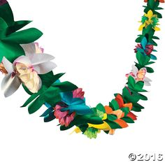 This bright tissue garland features flowers in tropical colors and makes a perfect accent for your luau or beach party! Decorate the buffet table, frame a ...