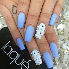 Laque Nail Bar Matt Blue Dope Nails Flower Lace Gem Diamond Square---the color not the white flowers Fabulous Nails, Perfect Nails, Gorgeous Nails, Pretty Nails, Laque Nail Bar, Baby Blue Nails, Cute Nail Art Designs, Nail Jewelry, Dope Nails