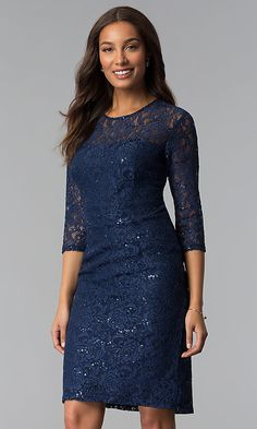 Shop sequin-lace knee-length mother-of-the-bride dresses at Simply Dresses. Short cocktail party dresses and lace MOB dresses with three-quarter-length sleeves and scoop necklines. Mob Dresses, Formal Dresses, Party Dresses, Elegant Dresses, Wedding Dresses, Dress Skirt, Lace Dress, Prom Dress, Long Mermaid Dress