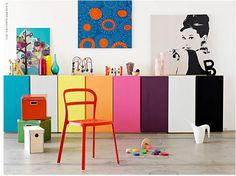 Colorful IKEA IVAR cabinet to compliment black furniture in a children's room Ikea Kitchen Wall Cabinets, Ikea Ivar Cabinet, Kitchen Paint, Kitchen Storage, Ivar Ikea Hack, Hacks Ikea, Hacks Diy, Ikea Inspiration, Ikea Ivar Regal