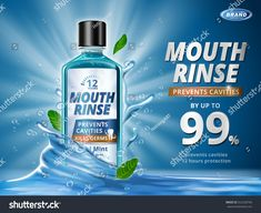 Mouth rinse ads, refreshing mouthwash product with splashing aqua elements and mint leaves in illustration, blue background After Wisdom Teeth Removal, How To Prevent Cavities, Chat App, Mouthwash, Ad Design, Graphic Design, Typography Poster, Dental, Vector Free