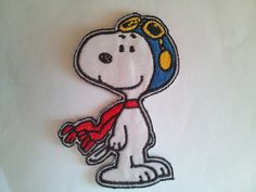 Snoopy Aviator Helmet Plane applique iron on patch by Shippatches