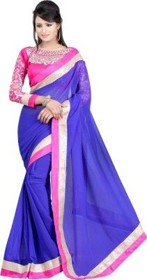 Fashiondeal Solid Fashion Chiffon Sari - Buy Blue Fashiondeal Solid Fashion Chiffon Sari Online at Best Prices in India | Flipkart.com