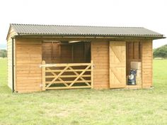 Here is our 6m x 3.1m Mobile Field Shelter. This particular shelter has been fitted with a wooden gate and a Tack/Feed Room, which for added security and protection also includes an internal timber floor.