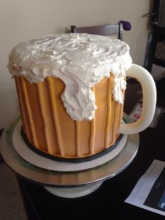 Beer mug, four layers - $60 Cakes By Stephanie, Layers, Beer, Pudding, Mugs, Tableware, Desserts, Food, Layering