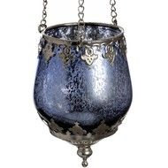 Ornate Blue Glass Tea-Light Lantern