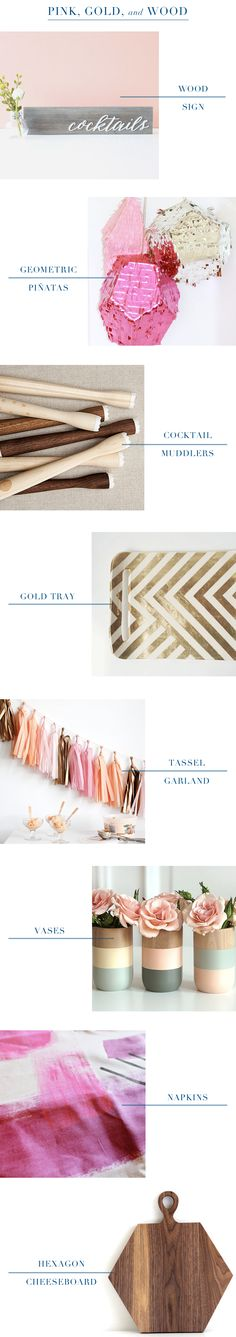 Oh So Beautiful Paper: Things to Party With: Pink, Gold, and Wood / Wood Cocktail Sign by Hoast and Toast / Geometric Piñatas by Katie Franklin / Wood Cocktail Muddlers by AHeirloom / Gold Tray by Up in the Air Somewhere / Tassel Garland by The Flair Exchange / Click through for full links and resources!