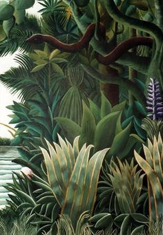 for Film 'Where the Heart Is' by Timna Woollard Studio Detail: Rousseau inspired jungle Mural; for Film 'Where the Heart Is' by Timna Woollard Studio Plant Illustration, Botanical Illustration, Botanical Art, Jungle Illustration, Jungle Art, Photocollage, Deco Floral, Naive Art, Art Graphique