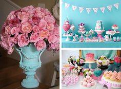 decoração noivado azul e rosa simples - Pesquisa Google