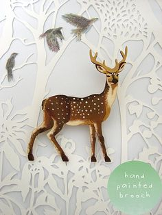 deer papercuts _Use this idea of color against a stark, beautifully cut ground for a light shade. For upstairs landing light perhaps.