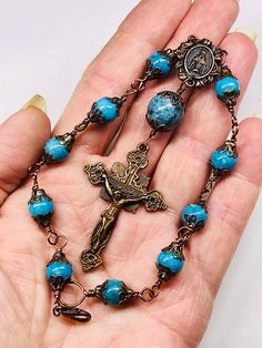 Pocket Rosary Car Cross Purse Dangle Catholic Christian