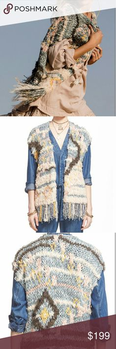 "NWT Free People rag rug knit vest. Gorgeous unique fringed vest. 22"" length with 4.5"" fringe.  Materials: 91% cotton 3% acrylic 3% nylon Free People Jackets & Coats Vests"