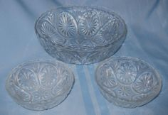 "VINTAGE - Anchor Hocking?  Clear Glass SET of 3 ""Star & Cameo"" 2- 4.5"" & 1 - 8"""