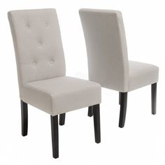 Amazon.com - Alexander Natural Fabric Dining Chair (Set of 2) - Button Dining Chairs