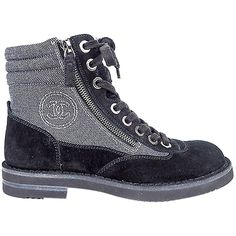Pre-owned Chanel 15c Grey Canvas Black Suede Zip Lace Up Short Combat... ($1,100) ❤ liked on Polyvore featuring shoes, boots, ankle booties, combat boots, black lace up booties, lace up booties, black military boots and black suede booties