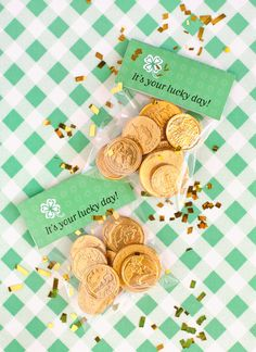 party favors, treat bags, bag toppers, goodie bags, st patricks day, st patti, gift idea, parti, gold coins