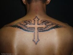 Cross Tattoos For Men with Wings on Back #tattoosformenonback
