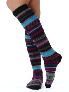 Womens Stripe Knee Socks Cashmere blend 9 Color Options Color:: Navy Cashmere Int. $16.49
